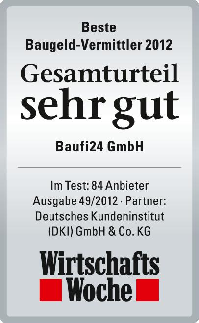 Baufi24 GmbH ist Testsieger bei Wirtschafts Woche